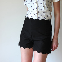 Black vintage inspired shorts   high waisted with by Minxshop