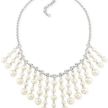 Carolee Silver-Tone Imitation Pearl Crystal Bib Necklace