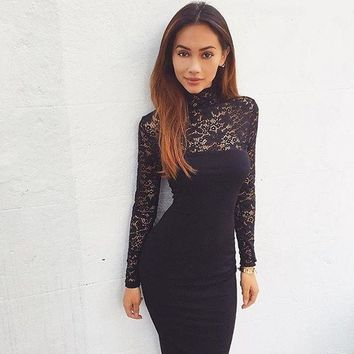 2016 Sexy Women Lace Dress Autumn Winter Long Sleeve High Neck Bodycon Dress Black Club Dress Red Party Dress Vestidos Robe Sexy