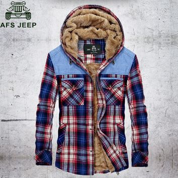 Afs Jeep 2017 Plaid Shirt Autumn Winter Thick Warm Fleece Shirt Men Casual Hooded Collar Long Sleeves Mens Shirts chemise homme