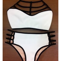 Summer Style Bikinis High Waist Halter Neck Swimsuit = 1946034692