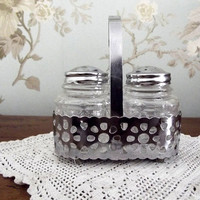 Home decor vintage salt  pepper condiment  glass salt pot,  basket kitchen  pot  chrome tableware