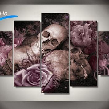 Framed Printed skull and roses Painting children's room decor print poster picture canvas Free shipping/jjv-2921