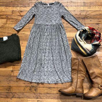 SALE!  Wesley Ribbed Dress in Olive and Gray