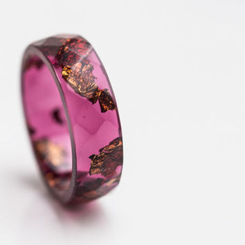 Deep Purple Resin Ring Men Ring Copper Gold Flakes Big size 10 Faceted Ring OOAK dark burgundy acai geometric jewelry rusteam