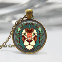 Leo Zodiac Glass Pendant - Leo Zodiac Jewelry - Zodiac Necklace - Art Pendant - Zodiac Necklace -Zodiac Charm,Astrology Pendant