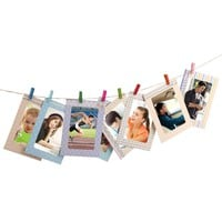 2017 Creative Home 8Pcs 6 inch Rectangle Paper Photo Frame With Wood Clips Wall Picture Album DIY Hanging Rope Frame Home Decer