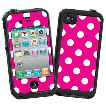 White Polka Dot on Hot Pink Skin  for the iPhone 4/4S Lifeproof Case by skinzy.com