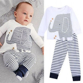 Elephant Toddler Baby Boys Geometric Elephant Clothes Long Sleeve Tops T-Shirt Striped Pants Outfits Sets