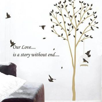 new Fashion Tree Bird Wall Stickers for Living Room