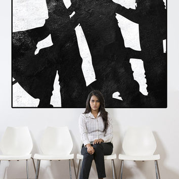large abstract painting canvas, large wall art on canvas, abstract canvas art, black and white painting canvas art,  extra large wall art