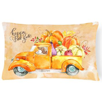 Fall Harvest Red Dachshund Canvas Fabric Decorative Pillow CK2677PW1216