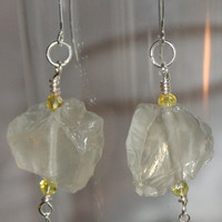Raw Citrine Nugget Statement Earrings, Crystal Quartz Natural Stone Earrings, Rough Cut Stone Quartz, Yellow Uncut Wire Wrapped Earrings