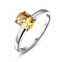 Stainless Steel Oval Yellow Cubic Zirconia Solitaire Ring