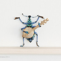 Real Beetle Playing the Banjo Taxidermy Insect Art Display