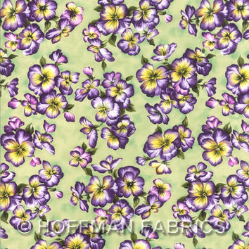 Isabella - Seagrass - Pansies - Hoffman Fabrics - Designer Cotton Quilt Fabric - Floral, Sage Green, Purple, Yellow