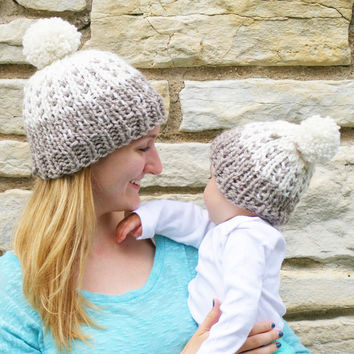 Winter Cotton Warm Mothers and Babies Winter Hats Set [9406595716]