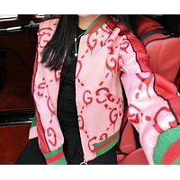GUCCI Fashion New More Letter Star Print Long Sleeve Leisure Top Coat Jacket Women Pink