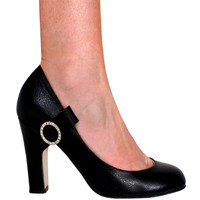Bow and Rhinestone Leather Pump - More Colors Available