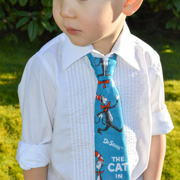 Boy Tie Dr. Seuss Tie Velcro Tie Toddler Tie Cat in the Hat Tie Blue and Red Tie Boys Cartoon Tie Character Tie Custom Tie