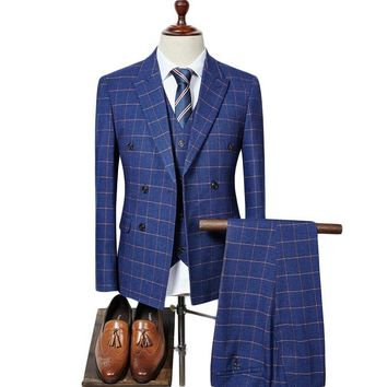 Double Breasted Slim Fit Plaid British Style 3 Piece Groom Wedding Suit