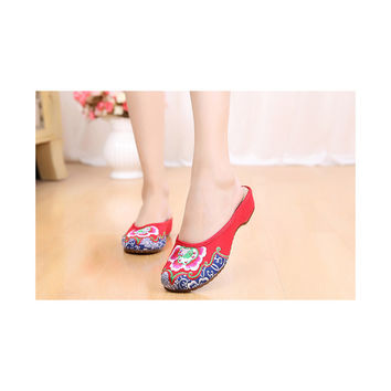 Old Beijing Cloth Shoes National Style Embroidered Shoes Flax Sandals Vintage Slippers Woman red
