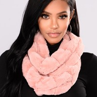 Winter Baby Fur Infinity Scarf - Pink