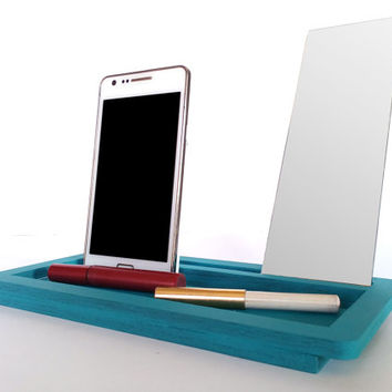 Laser cut wood makeup organizer,cell phone stand,make up mirror,cosmetic storage,gift ideas for women,teen gift,makeup storage,geek girl