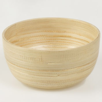 Coiled bamboo round snack bowls, natural