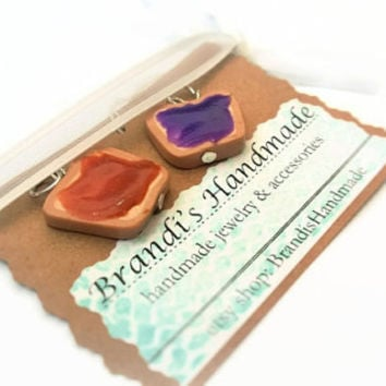 Matching Charms ~ Peanut Butter & Jelly ~ Polymer Clay Charm ~ Necklace Charm ~ Bracelet Charm ~ Friend Charm ~ Inedible Art ~ Made to Order