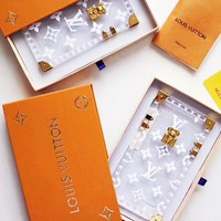 LV Transparent Color iPhone Case -Louis Vuitton Crystal iPhone Case -Up and Down Buttons iphone cap For iphone 6 6s 6plus 6s-plus 7 7plus 8 8plus X B/A
