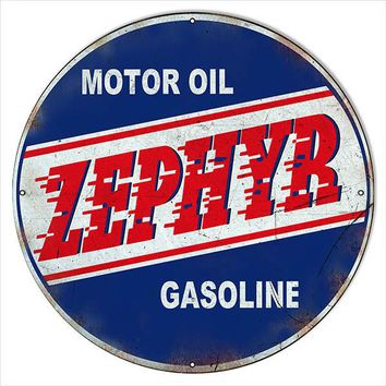 30″x30″ Round Distressed Zephyr Motor Oil Reproduction Sign