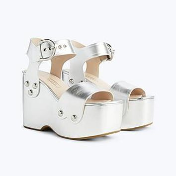 Silver Lana Wedge Sandal - Marc Jacobs