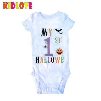 KIDLOVE Halloween Baby Romper Spider Pumpkin Print My 1 Halloween Letter Short Sleeve Newborn Jumpsuit Girls Boys Costume