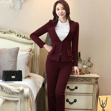 Two Piece Ladies Formal Pant Suit Office Uniform Designs Women Business Suits Red Blazer For work