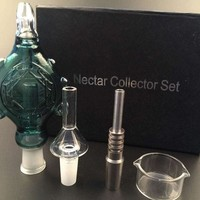 Wearable Nectar Collector Perc Pendant with GR2 14MM Titanium Nail & Quartz Nail oil rig mini glass bong spillproof Concentrate Pipe