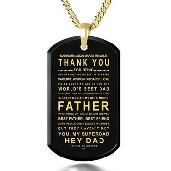 """Thank You Dad"", 24k Gold Plated Necklace, Onyx"