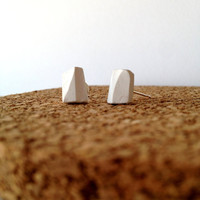 White Faceted Earrings  Clay Sculpted Earrings by CasaAndCo