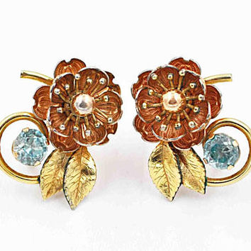 Vintage Krementz Blue Topaz Flower Screw Back Earrings, 14K Rolled Gold, Rose & Yellow Gold, Peony, Floral, Leaves, Gorgeous! #c300
