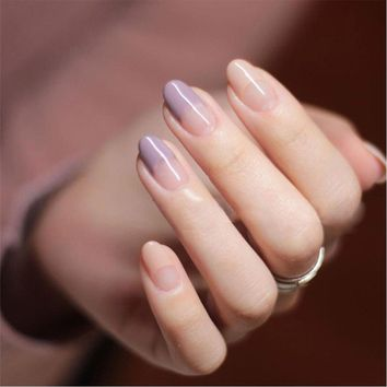 24pcs/Set Purple Pink French False Nails Half Clear Round Head Girls Nail Decoration Artificial Fake Nails with Glue