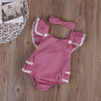 Infant Baby Girls Boys clothes Sleeveless Baby bodysuit Plaid Summer Sunsuit +Headband Outfits Kids clothes