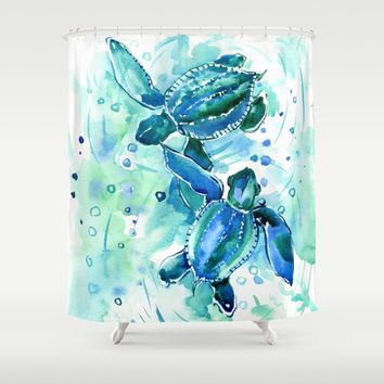 Turquoise Blue Sea Turtles In Ocean Shower Curtain By SurenArt