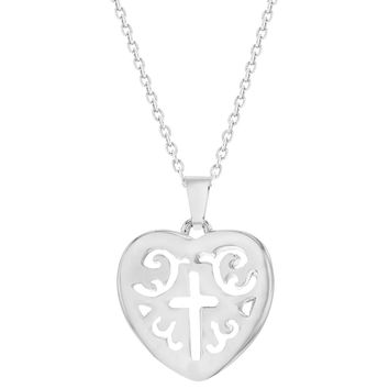 Rhodium Plated Heart Cross Necklace Religious Medal Pendant 19""