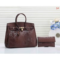 Hermes New fashion snake texture leather two piece bag handbag women