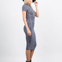 Mix Knit Midi Dress