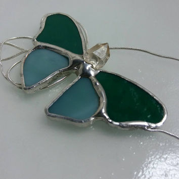 Stained Glass Butterfly Necklace, Two Toned Teal Glass & Crystal Necklace