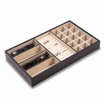Black Leather Open Face Valet Tray