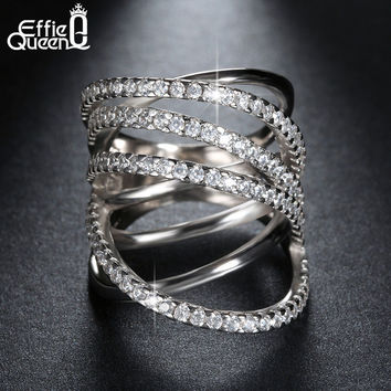 Fashion Jewelry Platinum Plated CZ Bowknot Vintage Ring Women Ring for Wedding DAR035