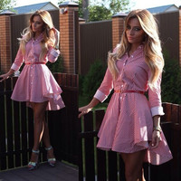 2015 New Summer Fashion European Style  Women Shirt Dresses Vertical stripes Long Sleeve Loose Street Dress X0045