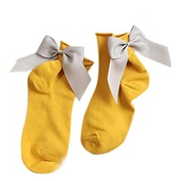 2017 Women Girls Casual Fashion Socks Harajuku Street Style Cotton Ankle Length Socks With Bow Soild Cotton